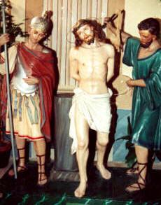 Gesù in casa di Pilato davanti ai pretori, trascinato da un giudeo e da un soldato romano